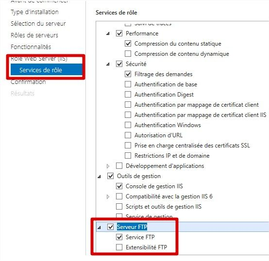 ajout du role serveur ftp windows