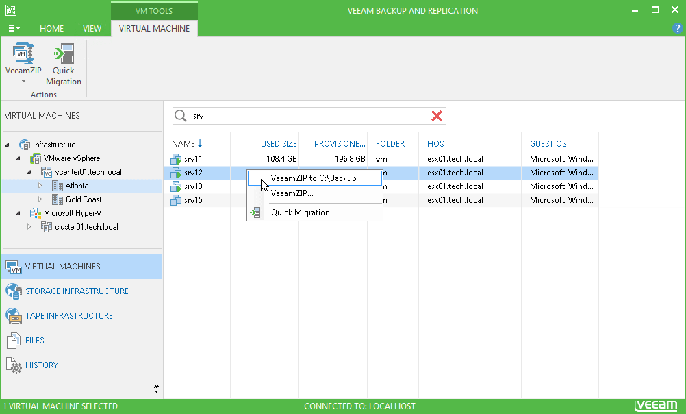 interface Veeam Backup