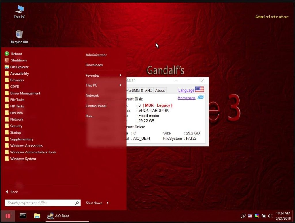 interface Windows 10 Gandalf