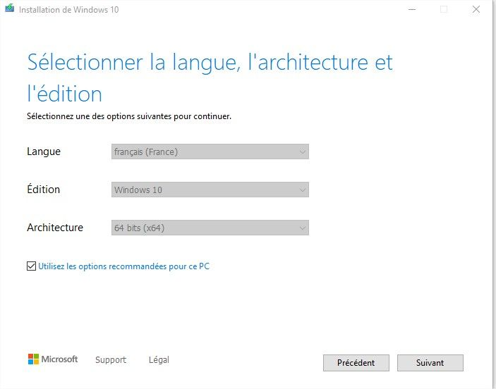 options du support installation windows 10
