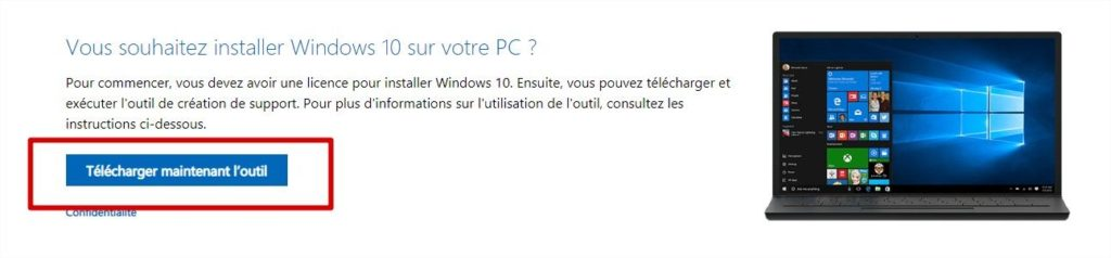 Téléchargement Windows Media Creation Tool