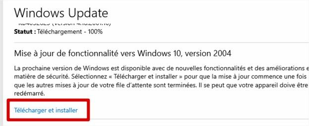 Windows 10 2004 sur Windows Update