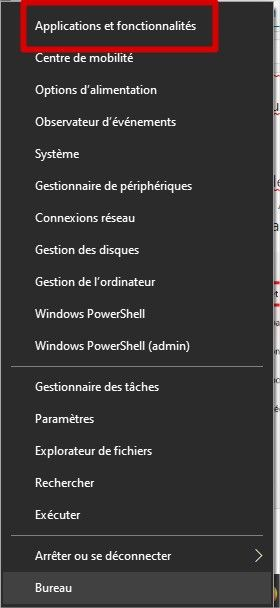 Menus applications et fonctionnalités Windows 10