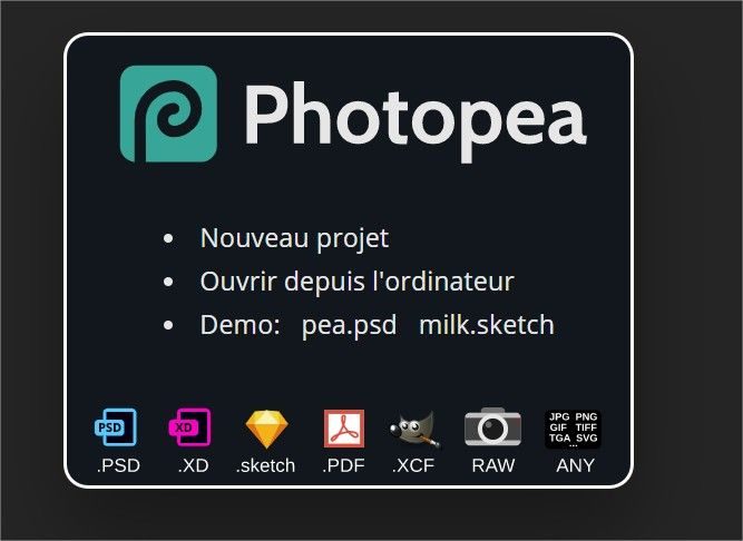 fichiers photopea