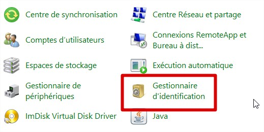 gestionnaire d'identification windows